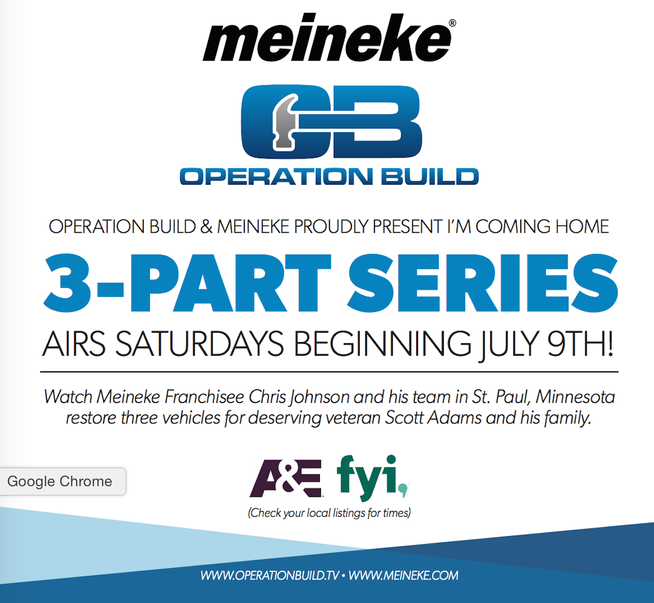 Meineke Operation Build 3 Part Series Beginning July 9th